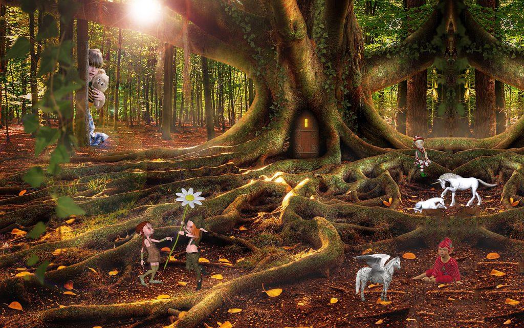 Fantasiewelt mit Elfen, Feen und Zauberwesen